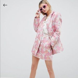 Asos tailored floral jacquard blazer&skirts set